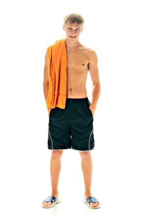 tanned man with towel isolated on white background photo