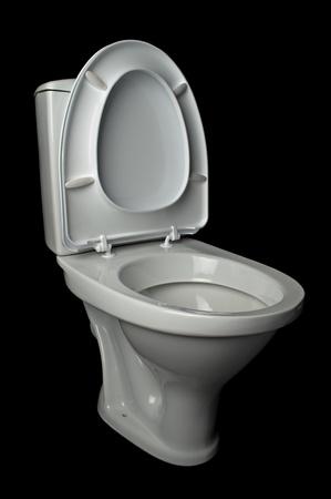 white lavatory pan isolated on black background Stock Photo - 8846460