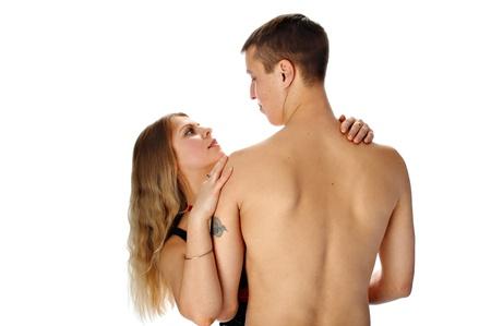 loving couple isolated on white background photo