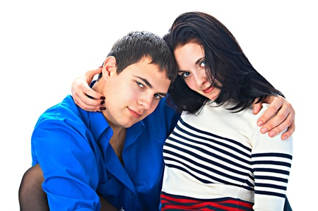 loving couple of the young people on white background photo
