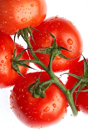 comestible: ripe tomato isolated on white