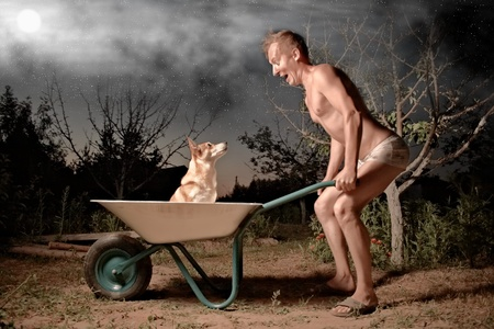 crazy horticulturist and his dog photo