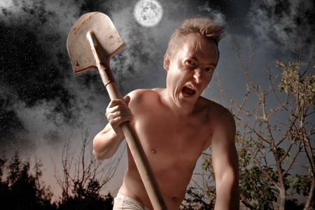 anger crazy man with spade Stock Photo - 10121800