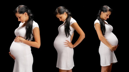 beauty pregnant on black background