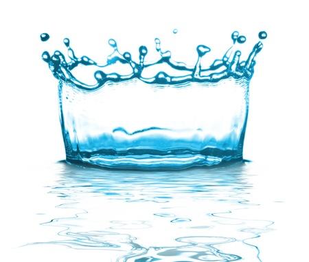 blue bubbles: splashing water on white background