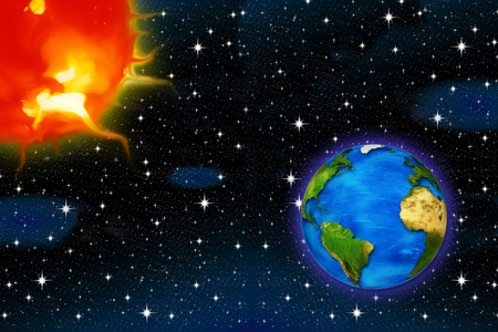 greenhouse effect: planet earth and the sun on a background of stars for air space