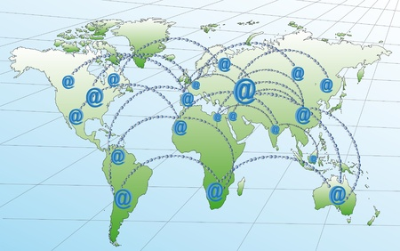world map with route in cash on the internet in the world