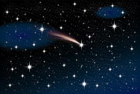 sterrenhemel: hemel met sterren van alle soorten en maten tijdens een maanloze nacht met een vallende ster