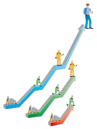 syndicate: drawing a graph with economic construction workers for a social scale Stock Photo