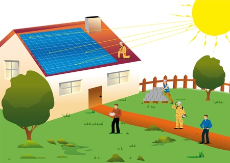 solar heating: illustration of a solar house located in a meadow for an environmentally sustainable electric power and renewable Stock Photo