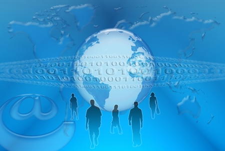 Communication and web networks on a planet is in hiding in sight air of the space on the background of world map and digital system Stock Photo