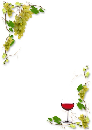 vine leaves and grapes for wine in a restaurant photo