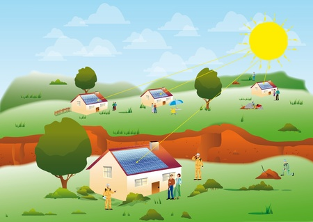 solar heating: illustration of several solar homes located in a meadow for an environmentally sustainable electric power and renewable
