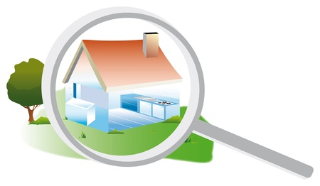 diagnosis: Drawing of a house exterior and interior with a magnifying glass to an energy audit Stock Photo