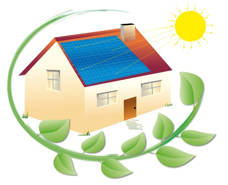 solar heating: illustration of a solar house surrounded by green leaves for an environmentally sustainable electric power and renewable Stock Photo