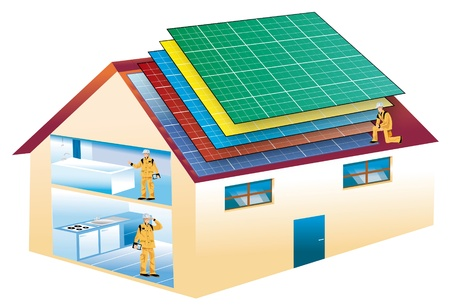 solar heating: ecological house with solar panels of various colors