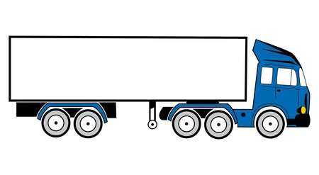 drawing of a tractor-trailer to transport goods photo