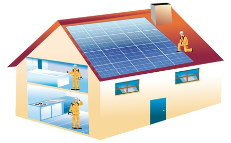 drawing of an ecological house with photovoltaic panels on the roof photo