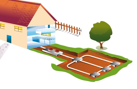 geothermal: house with a pipe for underground geothermal heating and cooling Stock Photo