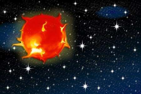 solar flares of the sun against a backdrop of stars for air space photo