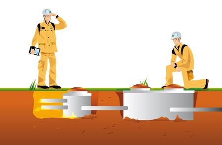 werken reiniging en ontwikkeling in kelder voor woning Stockfoto