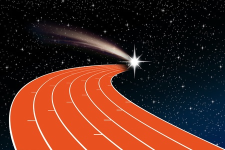 an athletics track in perspective towards a shooting star against the backdrop of night sky