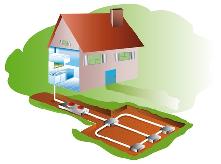 house with geothermic air-conditioning and heating in basement Stock Photo