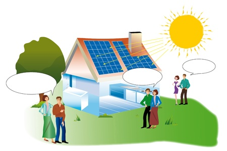 Couples with bubble dialogue for a real estate purchase a solar home Stock Photo - 14428126