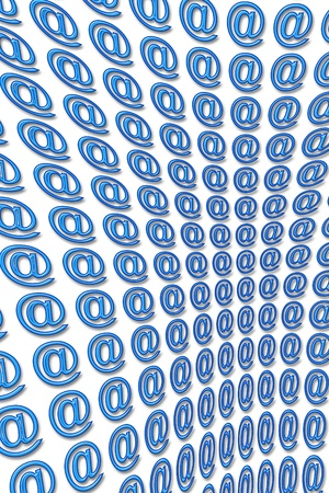 arobase: several arobase of color blue embossed 3D aligned in perspective Stock Photo