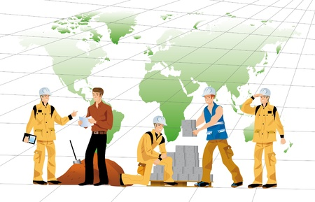 illustrations of buildings for workers working on a world map Stock Photo