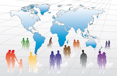 international trade: businessmen, couples and individuals on a map with all countries of the world