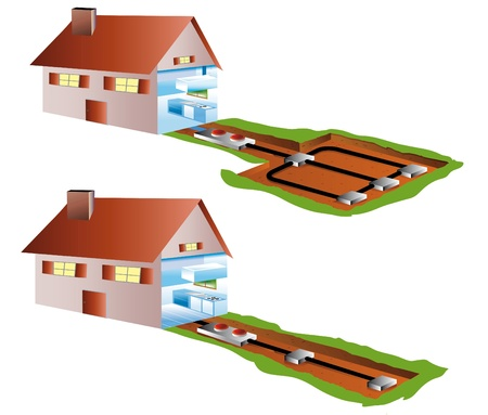 basement: ecological houses with air-conditioning in basement or by geothermics