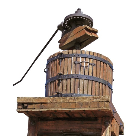 routed: Routed photograph of a press with grapes for the grape harvest