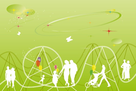 rides: drawing of a theme park with rides and festivities for families with children playing ball near a big 8