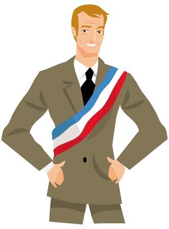 drawing a French mayor or politician photo