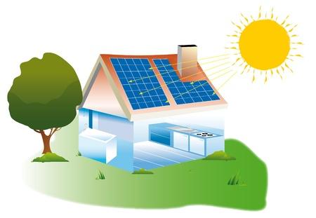 Dessin No Maison quipe De Panneaux Solaires Photovoltaques Banque