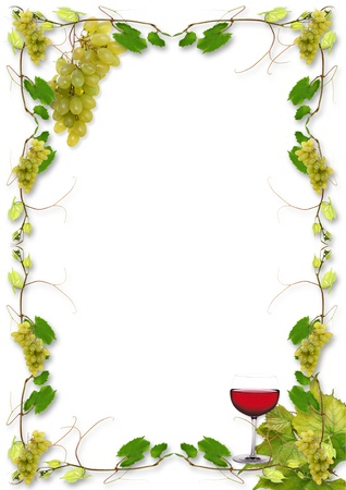 food and wine: vine leaves and grapes for wine in a restaurant