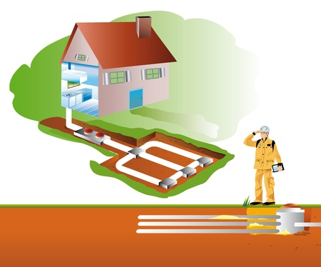 basement: geothermic drain and air-conditioning in basement Stock Photo