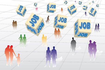 looking for a job: Many unemployed people looking for a job