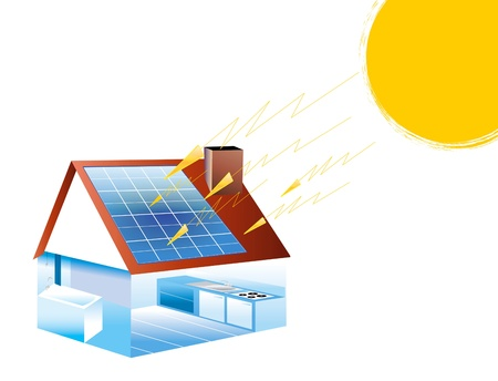 photovoltaic: Drawing no house equipped with solar photovoltaic panels Stock Photo