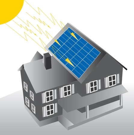 dwelling with solar panels on the roof