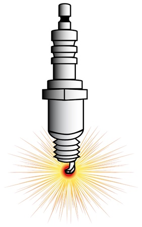explosion engine: drawing of a driving spark plug