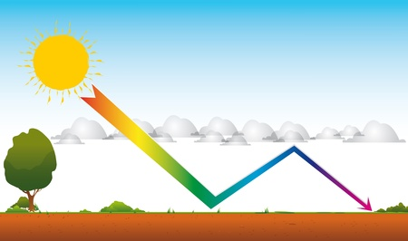 greenhouse effect: Drawing of global warming by a greenhouse effect  An arrow from the sun through the clouds toward the ground Stock Photo