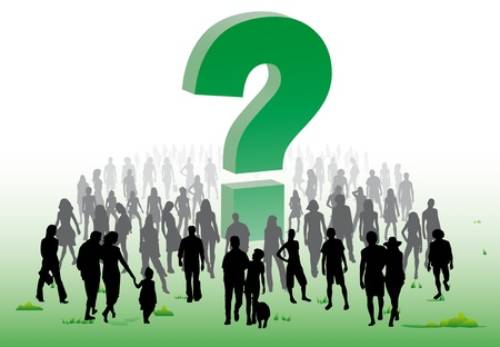 A crowd of people around a question mark over the issue of environment and ecology