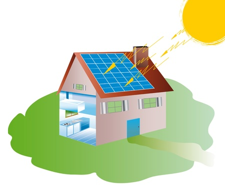 volte: solar house equipped with photovoltaic panels Stock Photo