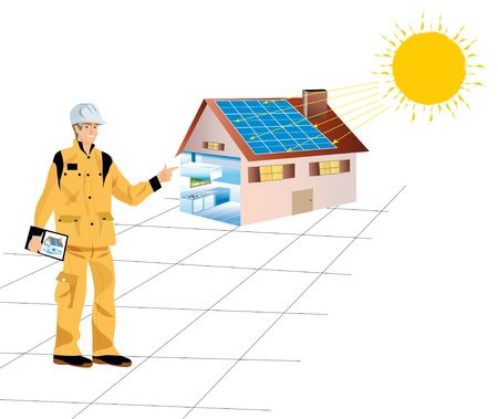 a construction worker with a house equipped with solar panels photo