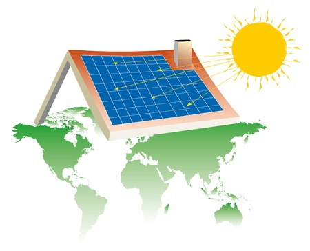 solar heating: a house equipped with solar panels on the base map of the world