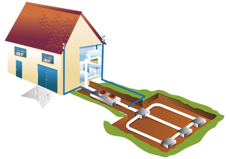 air conditioning and geothermics in basement Stock Photo