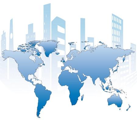 andamios: construcci�n de edificios y edificios en construcci�n sobre un mapa del mundo