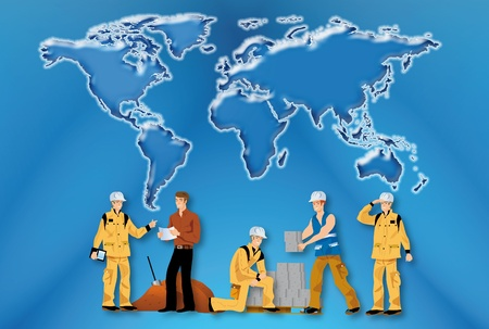 illustrations of building workers to work on a world map illustration